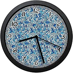 BCWAYGOD Turkish Ceramic Art Swirled Nature Leaves Middle Eastern Design Print Decorative Non-Ticking Wall Clock Silent Home Decor Battery Operated Clock 10 Inch