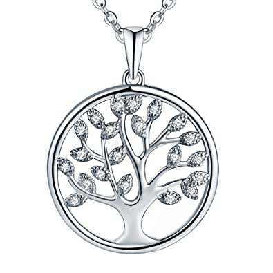 Starchenie Womens Gold Plated 925 Sterling Silver Cubic Zirconia Tree of Life Pendant Necklace Xzeiur