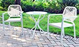 3-Piece Outdoor Cast Aluminum Bistro Set, Balcony Patio Furniture Chair Set for Small Spaces, Resin Wicker Chairs and Table with Tempered Glass Top Review