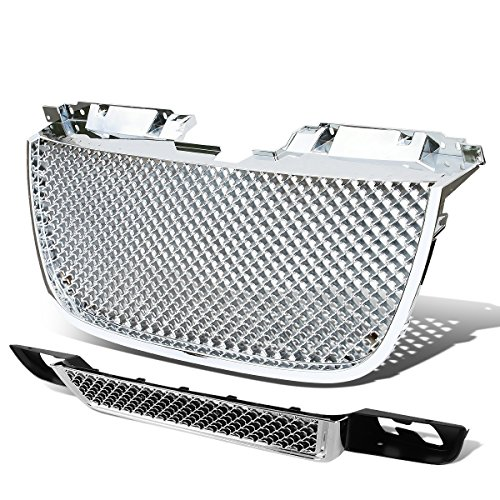 - For 07-14 GMC Yukon/1500/2500 ABS Plastic Diamond Mesh Style Front Upper & Lower Bumper Grille (Chrome)