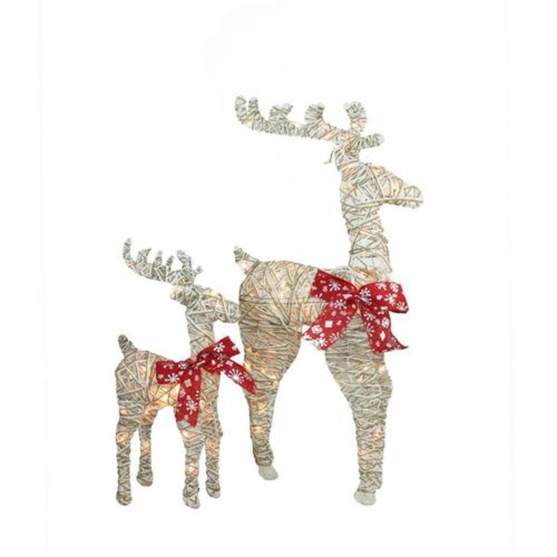 Set of 2 3D Glitter Delight Standing Reindeer Christmas Yard Decorations
