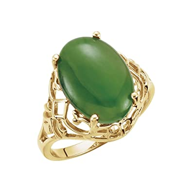 2ab0f86db153b Amazon.com: Bonyak Jewelry Nephrite Jade Openwork Ring in 14k Yellow ...