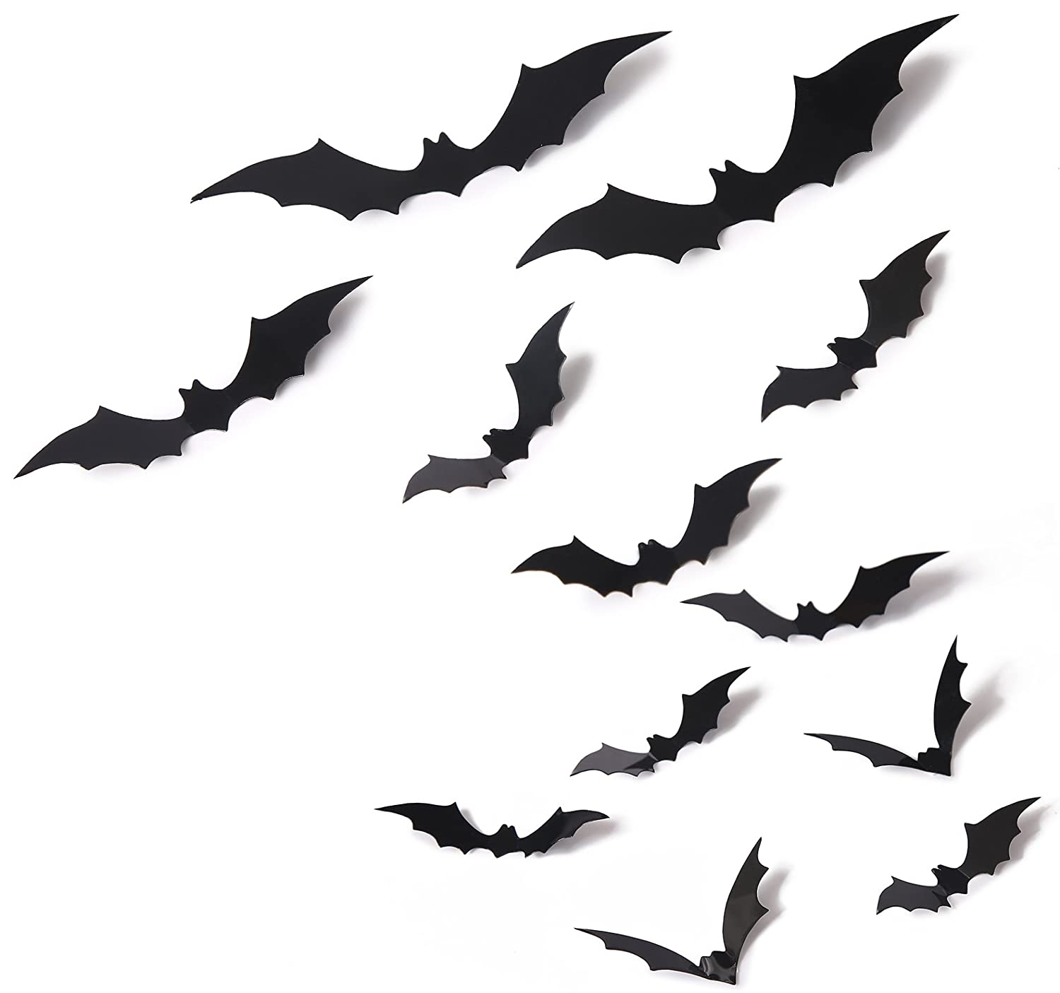 amazoncom 24 pcs bat cutouts 3d assorted sizes black halloween party home wall sticker decoration supplies home kitchen - Halloween Bat Decorations