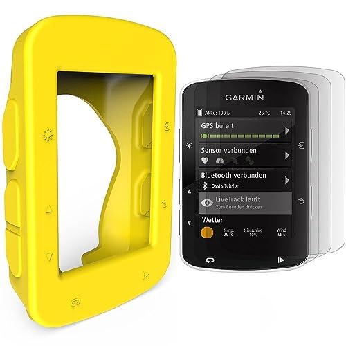TUSITA Custodia protettiva in silicone + protezione per schermo per GPS Bike Garmin Edge 520 820 (Giallo)