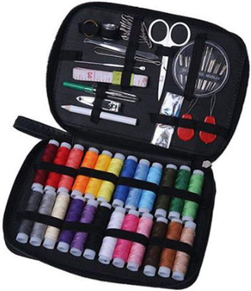 JUNSHUO Kit de costura,costurero de costura premium con funda de transporte, 24 carretes de hilo - 1 paquete de agujas de coser Kit de costura de viaje,para el viajes y principiantes (negro)