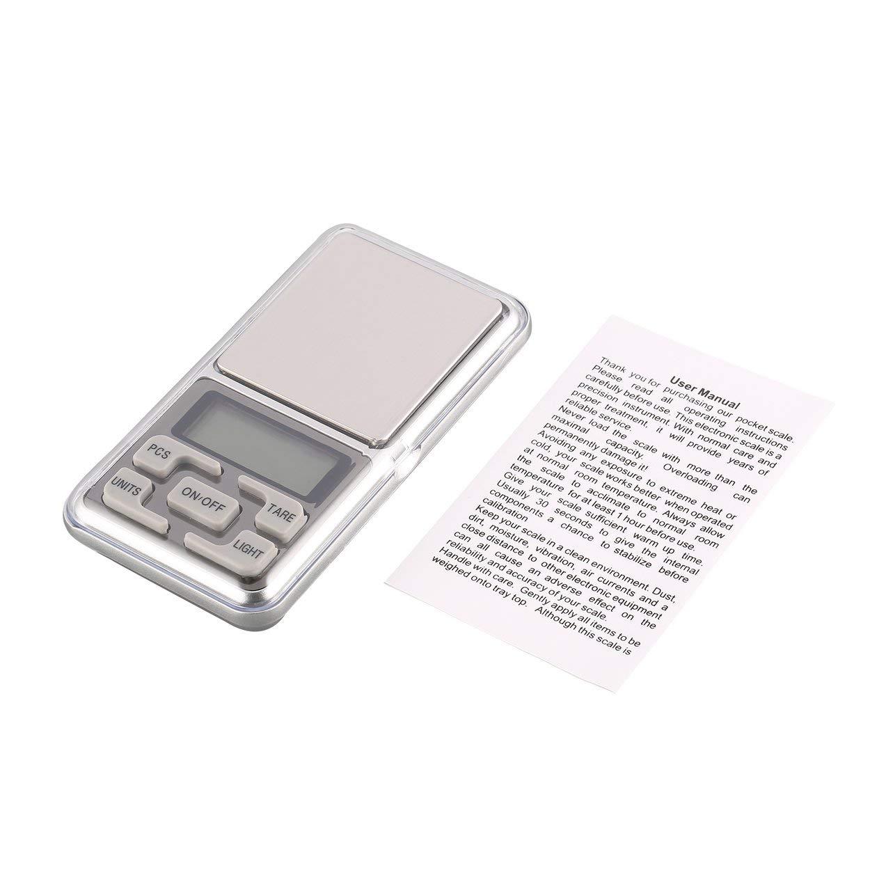 Lorenlli Mini balance de poche numérique précision 1000g 0.1g de poids g/tl / oz/ct / gn pour la pesée de bijoux de cuisine en or