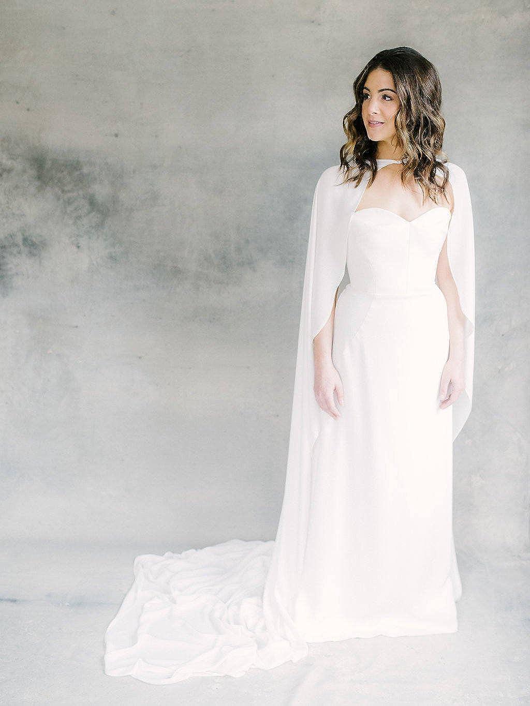 Amazon.com: kelaixiang - Capa de novia con apliques de ...