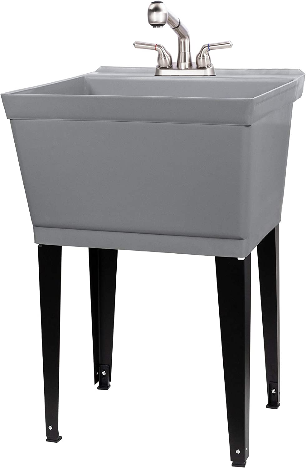 Grey Utility Sink Laundry Tub With Pull Out Stainless Steel Faucet, Sprayer Spout, Heavy Duty Slop Sinks For Washing Room, Basement, Garage or Shop, Large Free Standing Wash Station Tubs and Drainage