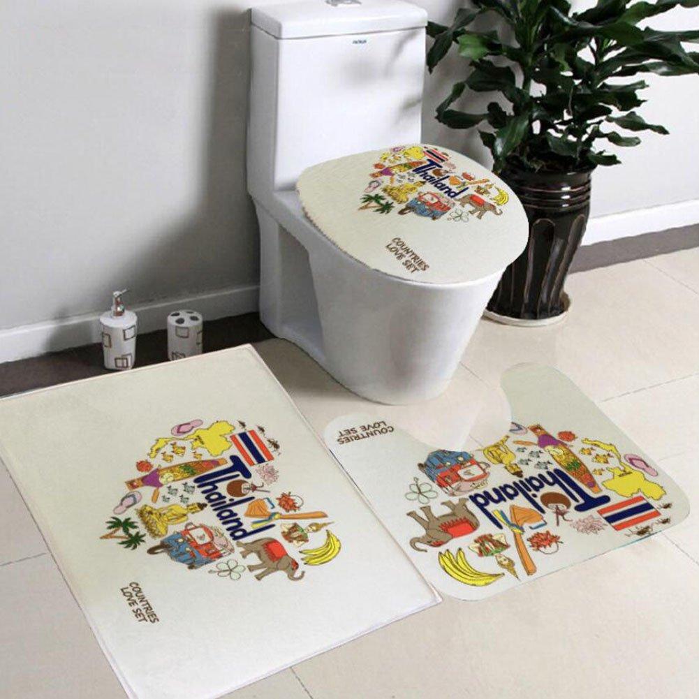 Non Slip 3 Piece Bathroom Mat Sets , Pedestal Rug + Lid Toilet Cover + Bath Mat Set Flannel Anti-slip Mat Bathroom Decoration ( Color : B ) by Eif (Image #4)