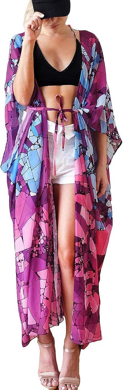 Bsubseach Chemise en Mousseline de Soie//Rayon pour Femmes Chemise de Kimono Longue Couverture de Bikini