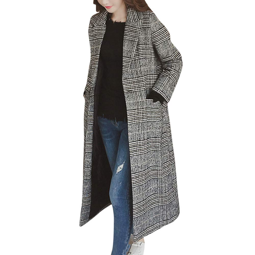 CLOOM Damen Mantel Trenchcoat Damen Jacke Warm Elegant Wollmantel Lang Wolljacke mit Knopf Plaid Wintermantel Felljacke Kunstpelz Langmantel Damen Poncho Winterjacke Jacket Windbreaker
