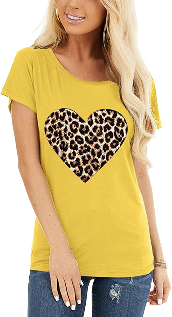 Women T-Shirt Short Sleeve Loose Tunic Tops Leopard Print Graphic Blouse Comfy Casual Tees Vedolay Womens Tops and Blouses