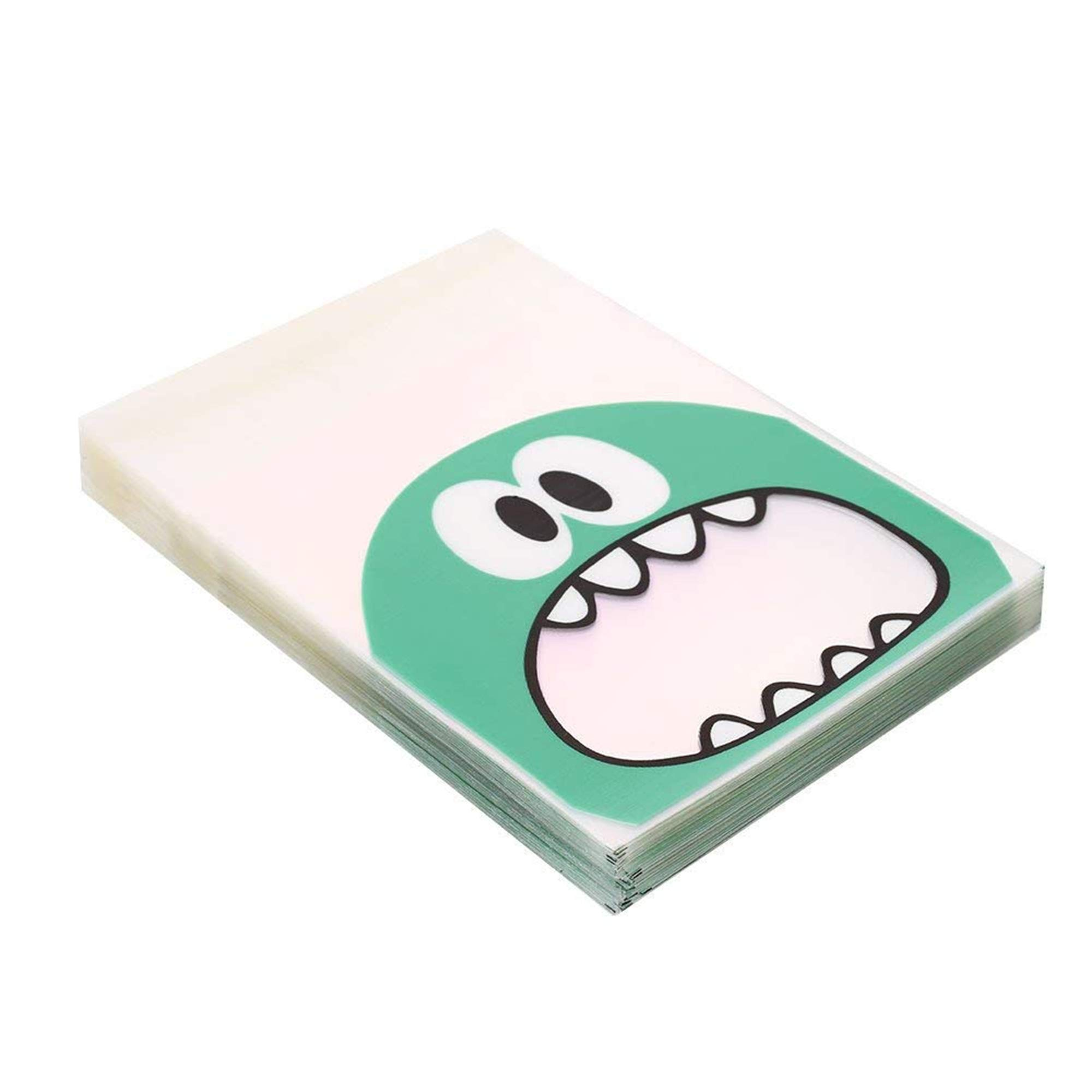 Wootkey Candy Bags 300 pcs 4'' Big Mouth Monster Self Adhesive OPP Cookie Bakery Decorating bags Biscuit Roasting Treat Gift DIY Plastic Bag by Wootkey (Image #4)