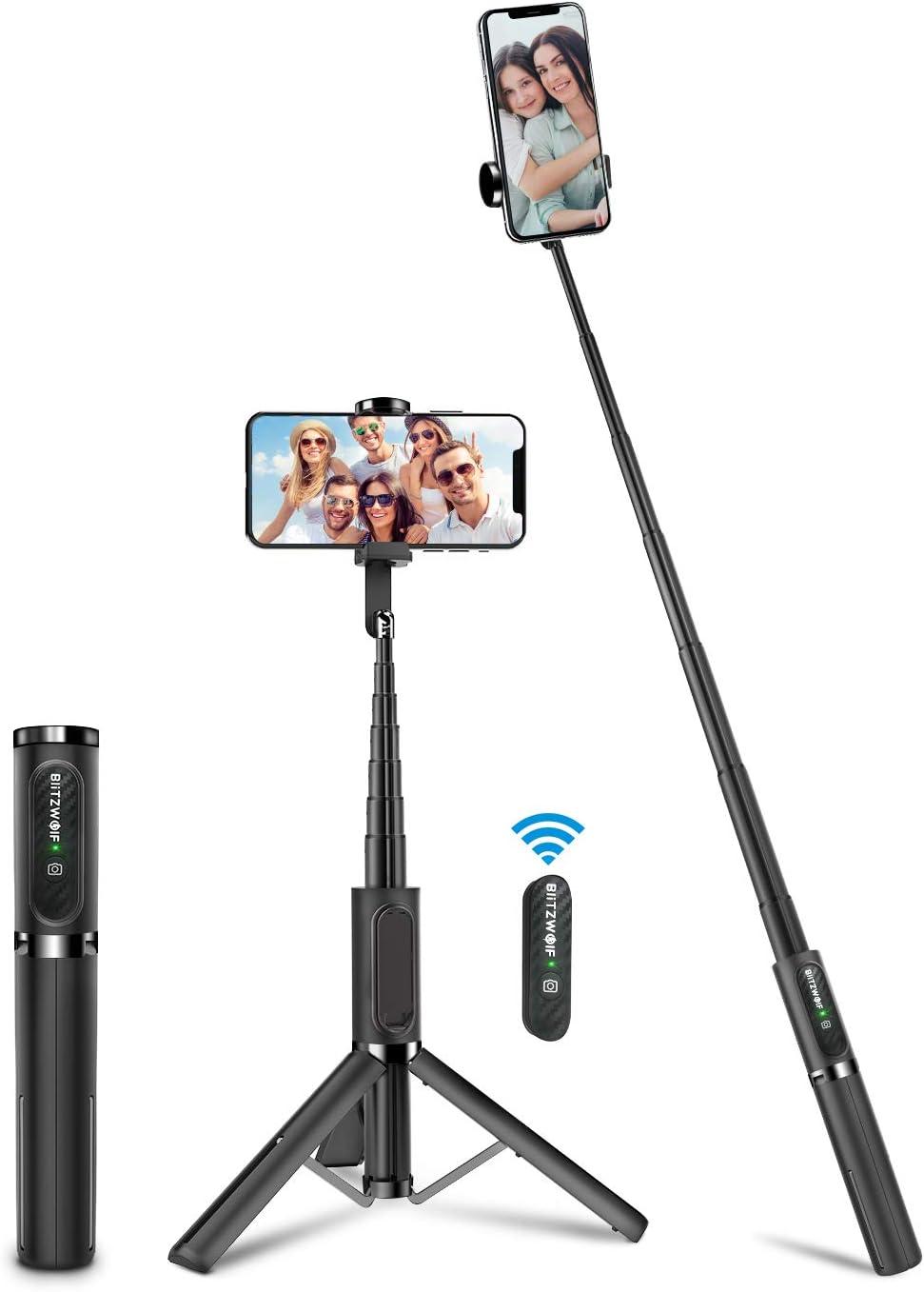 BlitzWolf Palo Selfie Trípode con Control Remoto Bluetooth, Selfie Stick Extensible de Aluminio para iPhone XS MAX/XR/XS/X/8/8P/7/7P/6, Galaxy S10/S9/S8/S7, Huawei, Xiaomi y etc.(Gris)