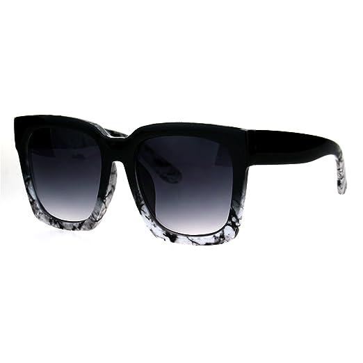 f6dd6ab023b Womens Boyfriend Style Oversize Horned Rim Thick Plastic Sunglasses Black  White Marble