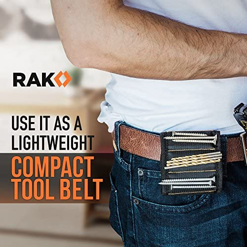 RAK Magnetic Wristband with Strong Magnets for Holding Screws, Nails, Drill Bits for DIY Handyman, Father/Dad, Husband, Boyfriend, Him, Men, Women (Black)