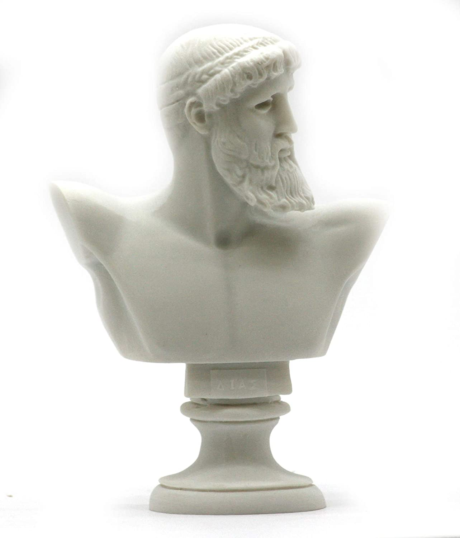 Greek Roman King God Zeus Bust Head Alabaster Statue Sculpture 6.3 inches