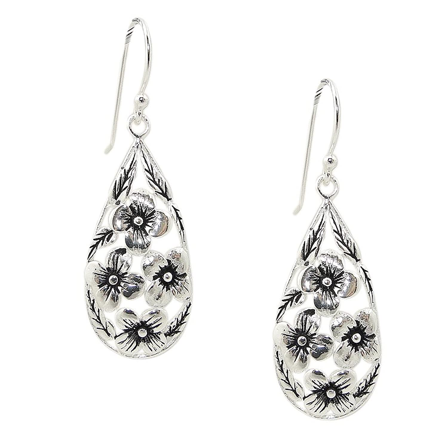 Sterling Silver Dome Teardrop earrings with Oxidized Flower 100% Hypoallergenic and Nickel Free