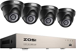 ZOSI Home Security Camera System,5MP Lite H.265+ 8Channel CCTV DVR Recorder,4PCS 1080P 1920TVL Night Vision Indoor Outdoor Surveillance Camera, Remote Access, Motion Detection (No HDD)