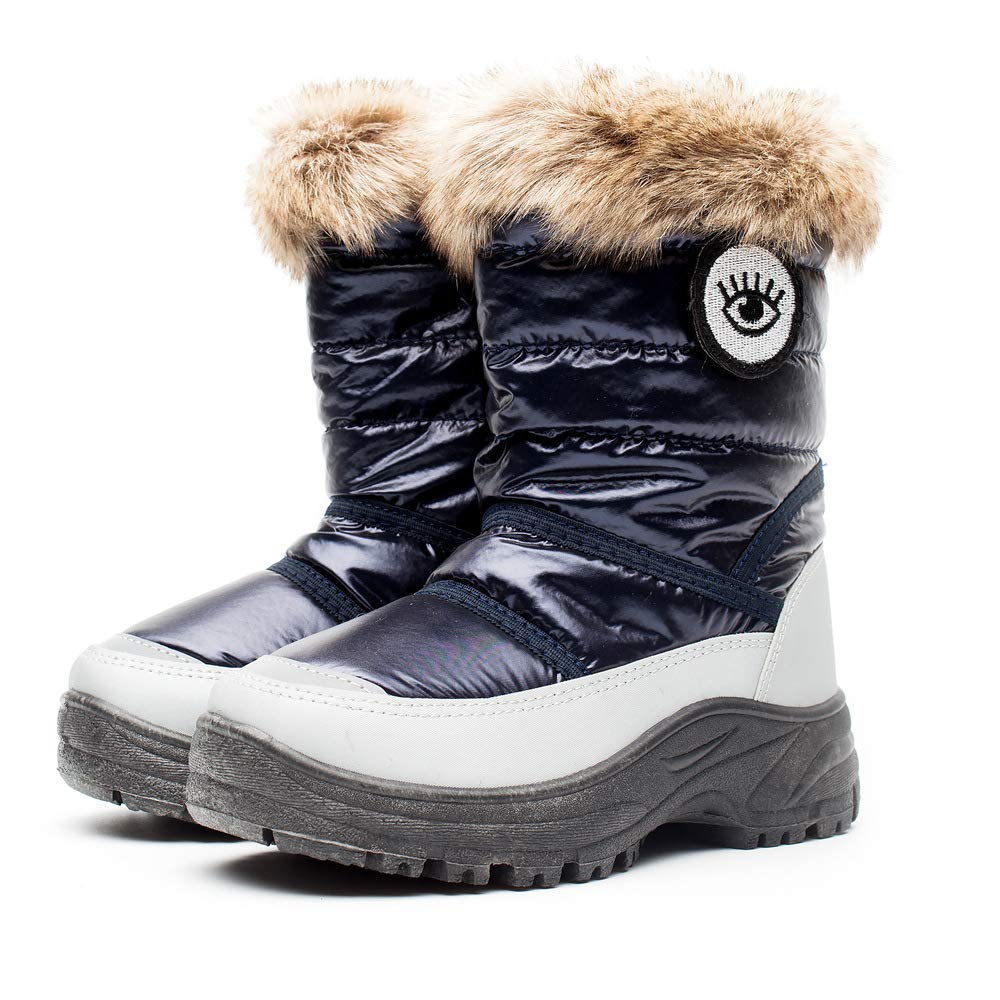 HUADELI Kids Boys Girls Non Slip Winter Snow Boots Toddler Mid Calf Outdoor Resistant Cold Weather Shoes