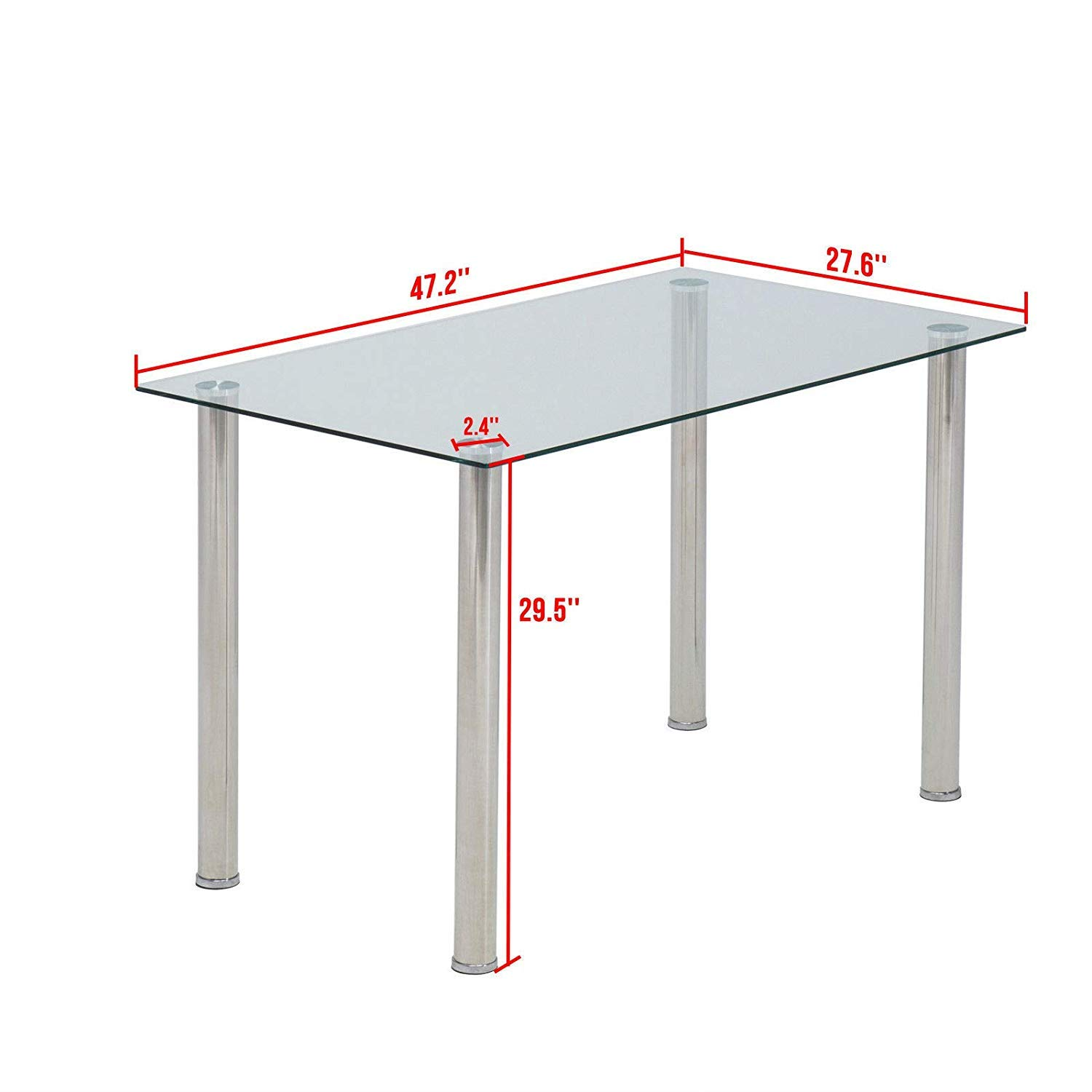 Mecor Dining Table Modern Minimallist Glass Kitchen Table Rectangular Transparent Metal Legs 47IN for 4/6 Persons,Clear