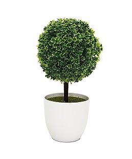 HuaYang Topiary Mini arbre Artificielles avec Pot en mélamine pour Décoration (Vert)