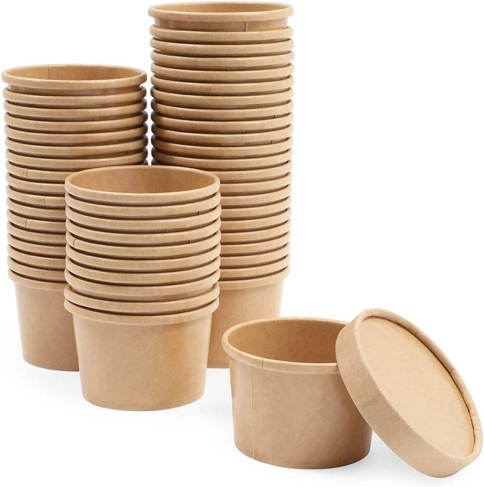 Brown Disposable Soup Containers with Lids for To Go Food (8 oz, 50 Pack)