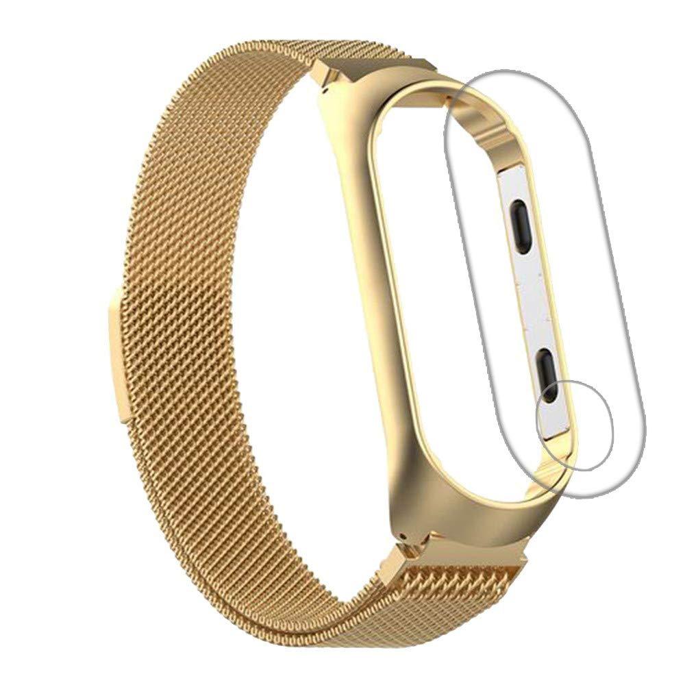 Für Xiaomi Mi Band 3 Armband mit Schutzfolie ,Colorful Milanese Edelstahl Uhrenarmbänder Ersatzband mit Magnetverschluss Sports Armbänder für Xiaomi Mi Band 3 Smartwatch (Band lang: 190-210 mm, Kaffee)