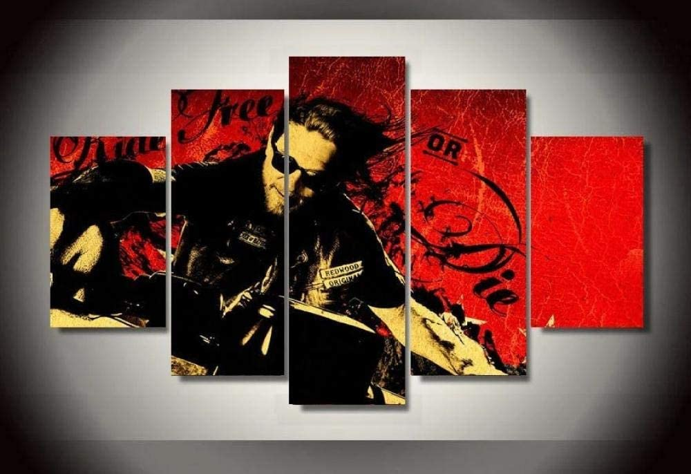 Creative Gift 5 Panel Canvas Wall Art Canvas Prints 5 Pieces Modern Home Living Room Decor Bedroom Decor Son of Anarchy-Alive Or Dead Hd Print Poster