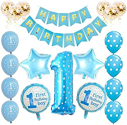 Toupons 1st Birthday Decorations for Baby Boy, Blue Happy Birthday Banner Latex and Foil Balloons Kit(Blue)