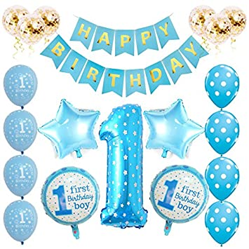 Toupons 1st Birthday Decorations For Baby Boy Blue Happy Birthday