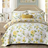 Best Comforter Sets,Yellow Floral Poppy Printing 3 Piece Quilt Sets,100% Cotton Luxury Reversible Washable Bedspread Queen Size
