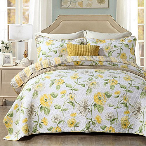 Best Comforter Sets,Yellow Floral Poppy Printing 3 Piece Quilt Sets,100% Cotton Luxury Reversible Washable Bedspread Queen Size by Miaote