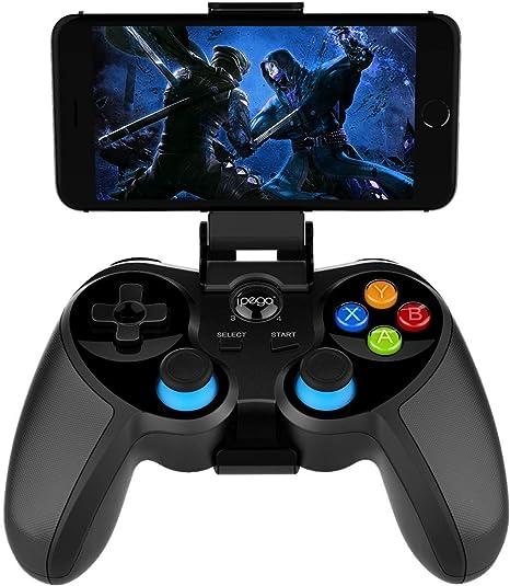 PG-9157 Controlador de juego inalámbrico Bluetooth para iPhone, tableta con teléfono Android, Smart TV, TV Box Gamepad + Joystick + Soporte para teléfono Gamepad Trigger Controlador PUBG: Amazon.es: Videojuegos