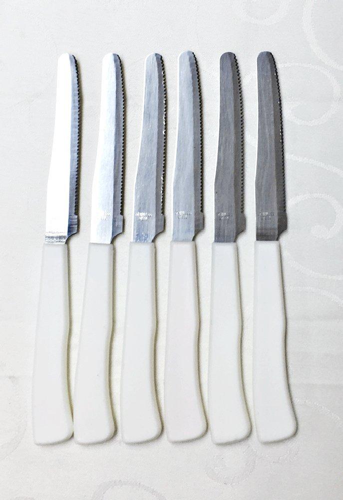 ステーキナイフ6ピースセットホワイトハンドル B075L19S7D