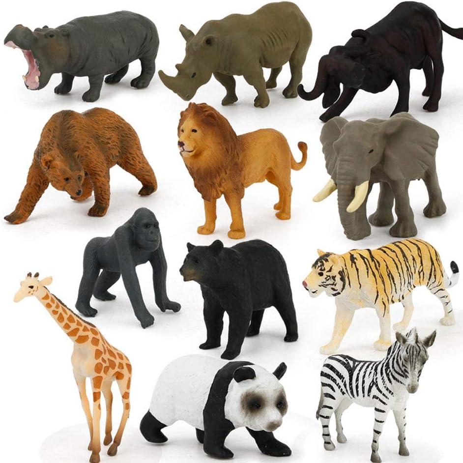 PoeHXtyy 12 piezas animales salvajes acción figura realista animales acción modelo aprendizaje juguete regalo