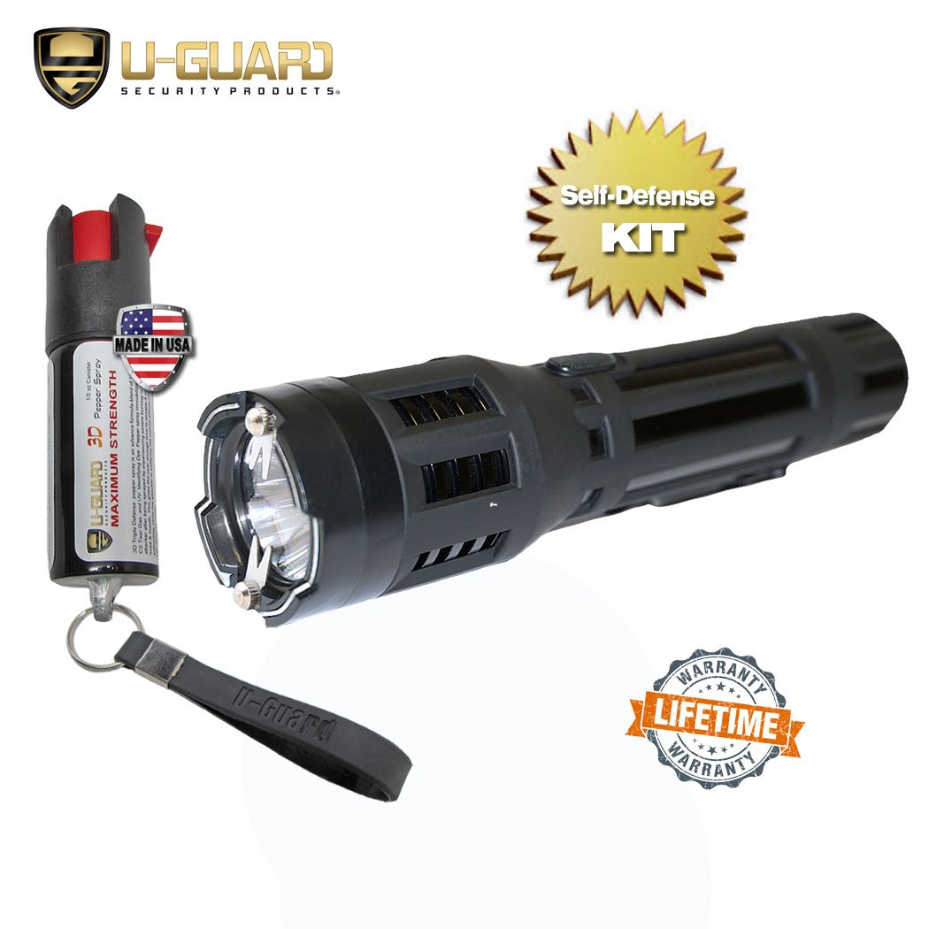 Stun Gun With Flashlight Keychain Pepper Spray Self-Defense Kit.(1) High Volt Amp LED Flashlight Taser (1) Law Enforcement Grade .5oz OC Police Keychain Pepper Spray CS Tear Gas Formula. (Black Taser)