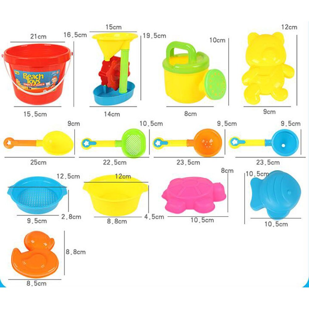 Beach Toys 13 Pieces Kids Sand Toy Set Molding Play with Net Bag Packaging OUBEI
