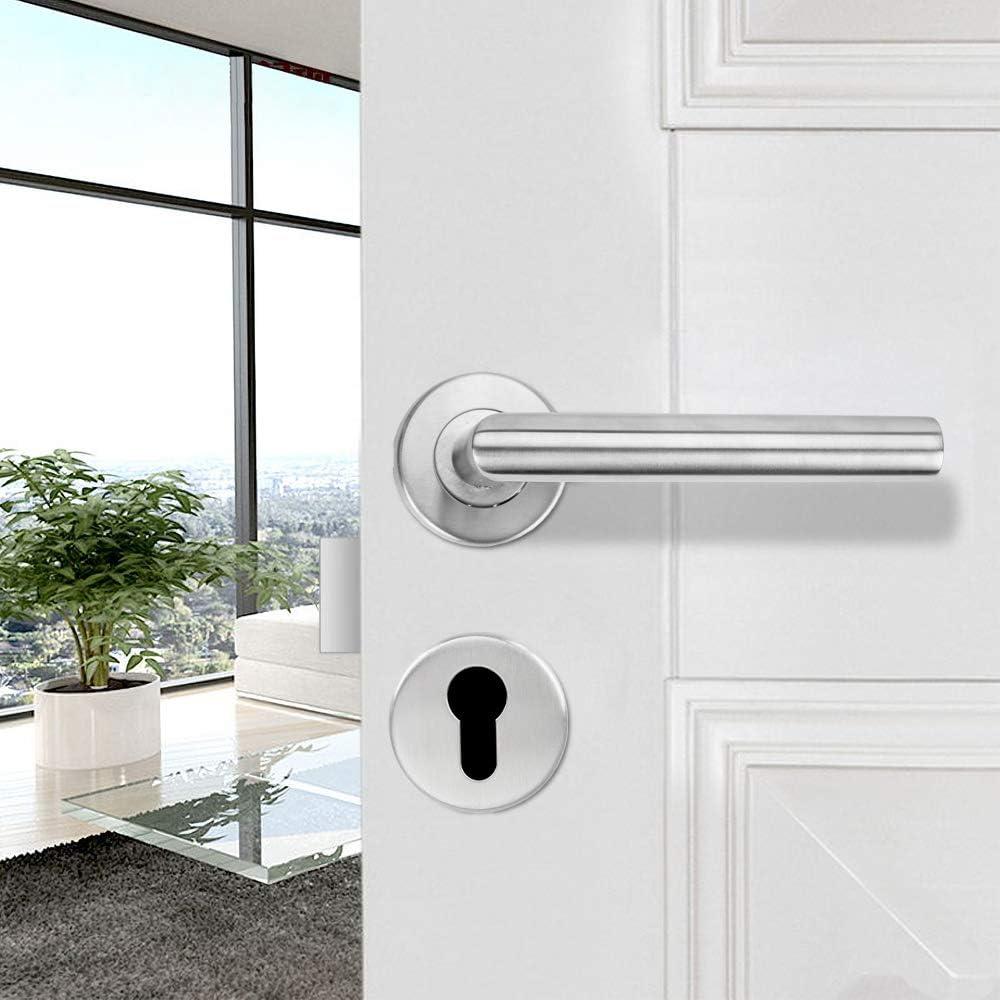 Wis - Picaporte para puerta (acero inoxidable, cerradura de pinza, para puertas de habitaciones, cilindro de cerradura, forma L): Amazon.es: Bricolaje y herramientas