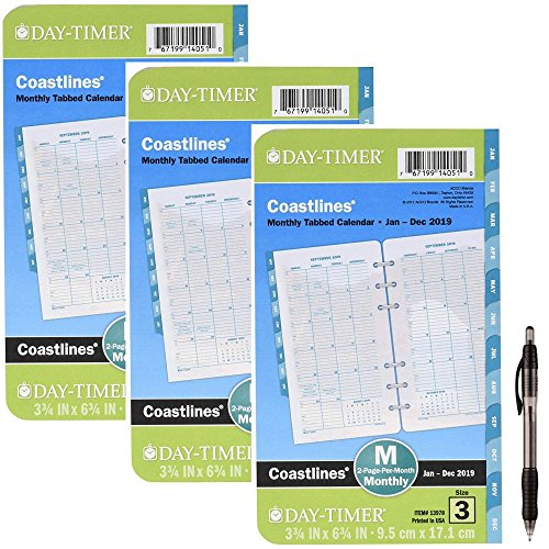Day-Timer Refill 2019, Two Page per Month, January 2019 - December 2019, 3-3/4'' x 6-3/4'', Loose Leaf, Portable Size, Coastlines (13970) 3 Pack- Bundle Includes 1 Black Ballpoint Pen by Day-Timer