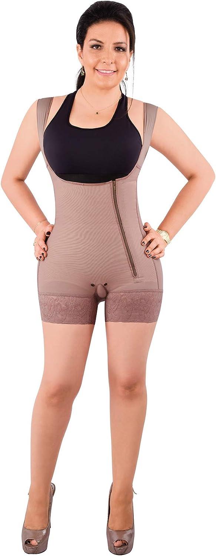 Forma Tu Cuerpo, Faja Colombiana, Short bodysuite arms Control, Bodyshaper & Girdle, mid Thigh Side Zipper with Butt Lifter