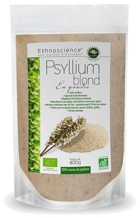 Ecoidées | Psilio Rubio Orgánico, Cáscara de Psyllium, rico en mucílago, fibra soluble