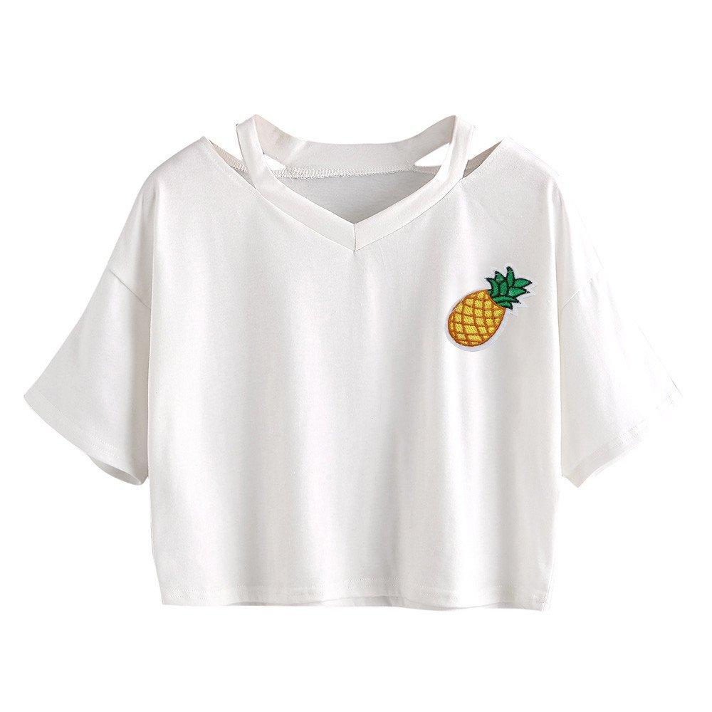 Kaitobe Womens Tops Short Sleeve V-Neck T-Shirts Casual Pineapple Print Croptops Tunic Blouse Tops Shirts White