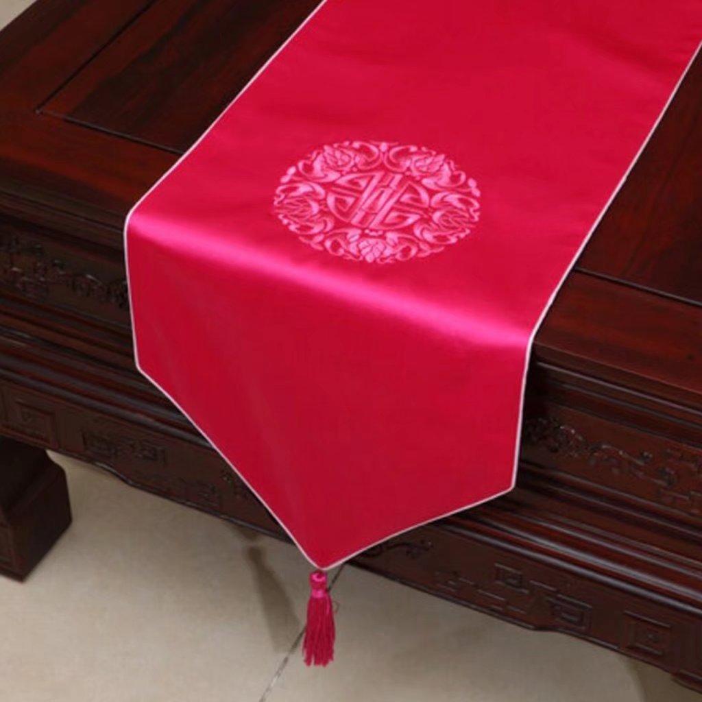 KKY-ENTER Pink Table Runner color sólido solo paño de tela del paño del bordado trapo de mesa (sólo vendiendo corredor de la tabla) 33  300cm