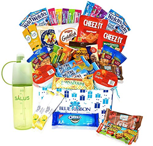 Care Package - Great for Camp, College Students , Finals, Military, Hospitals , Women and Men - Snack Boxes Gift Variety with Salus Water Bottle