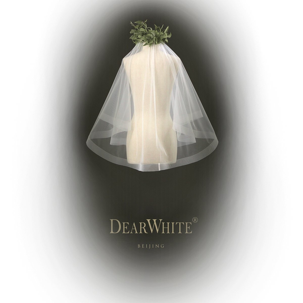DearWhite Bridal Veils White Short Lace Handmade Haute Couture Tulle(The Cloud)