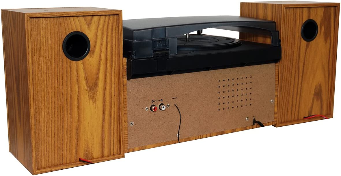 Boytone BT-28SPW, Bluetooth Classic Style Record Player Turntable with AM/FM Radio, CD / Cassette Player, 2 Separate Stereo Speakers, Record from ...