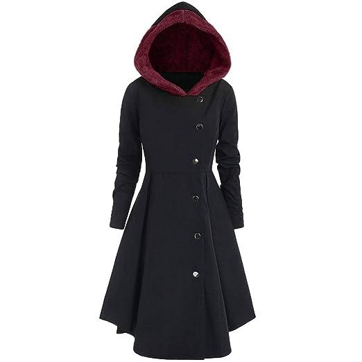Keamallltd Moda para Mujer Invierno Trench Coat Negro Botón Gótico Vintage Abrigo Túnica Slim Lady Outwear Abrigos con Capucha Más El Tamaño 4XL: Amazon.es: ...