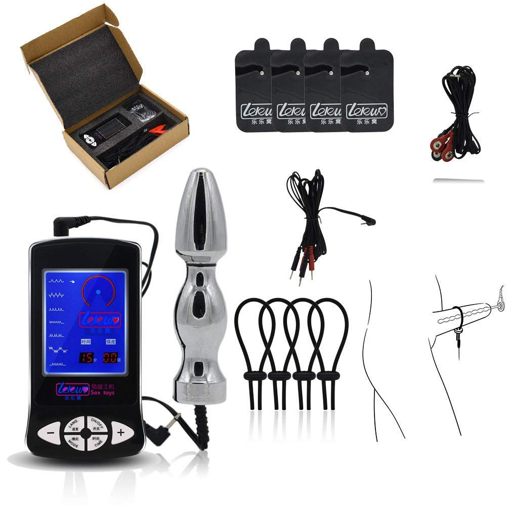 Electro Sex/E-Stim, Luxury Electric Stimulation Set with Cock Ring, Stainless Steel Anal Plug and 4 Patch/Pad, Vaginal Anal Dildo Stimulation Torture SM Sex Toys Masturbator for Women Men Couples by HOUADDY