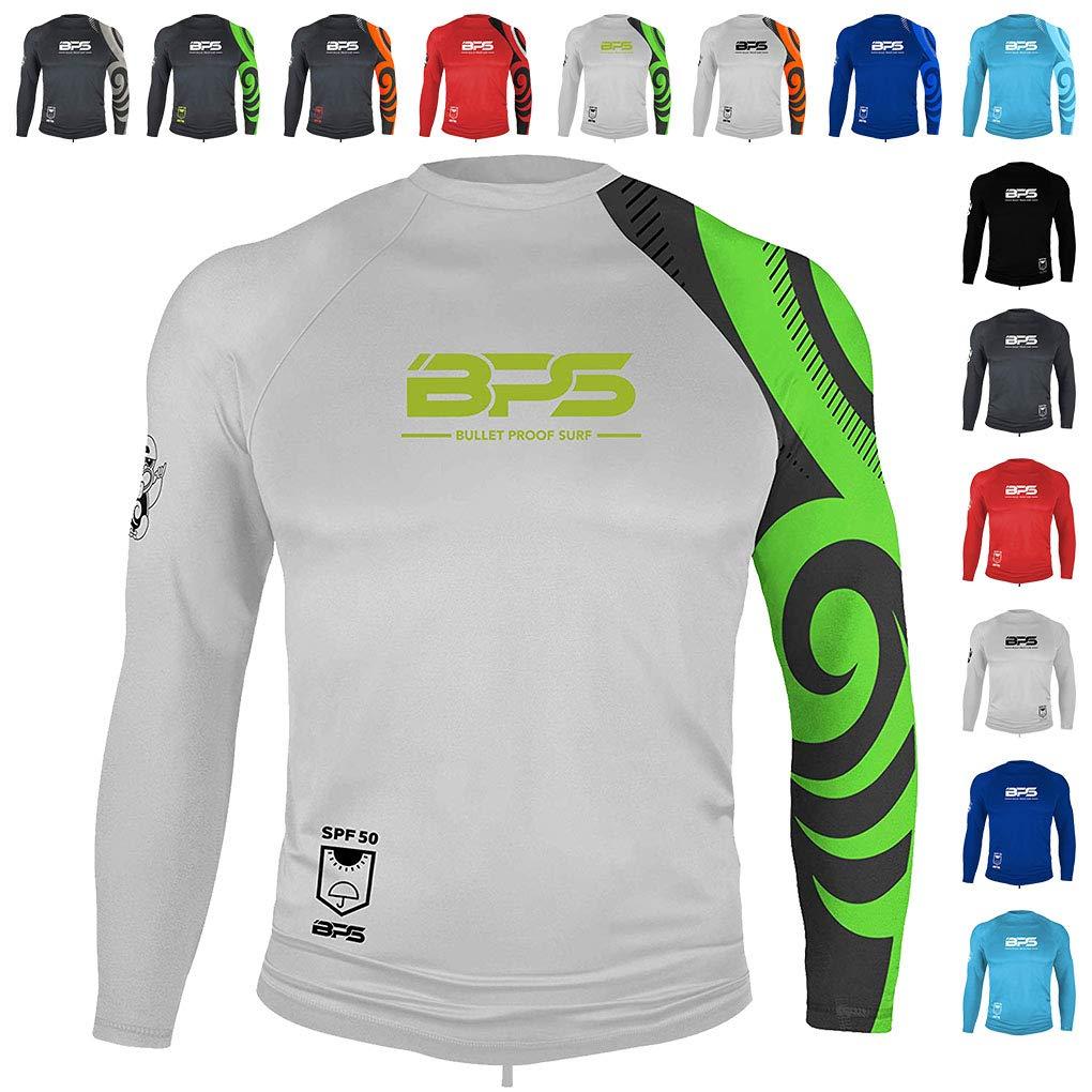 BPS Men's Long Sleeve Quick Dry Rash Guard UPF 50+ - White Lime, M by BPS